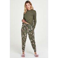 Hunkemöller Flower Words Petite Pyjama Pants Green