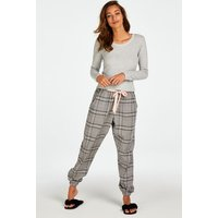 Hunkemöller Petite Twill Check Pyjama Pants Grey
