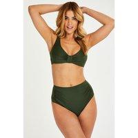 Hunkemöller Hohe Bikini-Hose Luxe grün