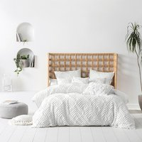 Linen House Palm Springs Double Duvet Cover Set, Pillowcase Sham and Polyester Filled Cushion  Cotton - White
