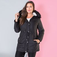 Longline Parka Jacket with Faux Fur Trim Hood