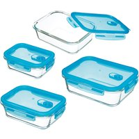 KitchenCraft 4 Piece Pure Seal Airtight Leak Proof Glass Food Rectangular Storage Containers/Oven Dishes