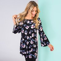 Print Fluted Sleeve Tunic