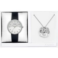 Fjord Ladies Laurens Watch with Genuine Leather Strap and Necklace Gift Set