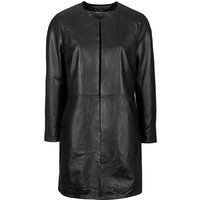 Woodland Leather Collarless 3/4 Edge To Edge Coat