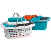 Beldray LA030450TQ Plastic Laundry Baskets with Carry Handles 26 Litre Capacity, Set of 2, Turquoise and White