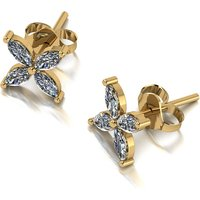 Moissanite 9ct Gold 1.0ct eq Petal Solitaire Earrings