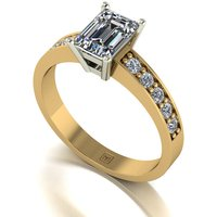 Lady Lynsey Moissanite 9ct Yellow Gold 1.00ct eq Emerald Cut Solitaire Ring