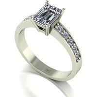Lady Lynsey Moissanite 9ct White Gold 1.00ct eq Emerald Cut Solitaire Ring