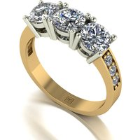 Lady Lynsey Moissanite 9ct Gold 2.00ct eq Trilogy Ring