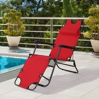 Outsunny Metal Frame 2 In 1 Sun Lounger w/ Pillow Red