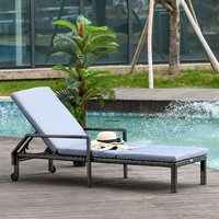 Outsunny Rattan Wicker Sun Chaise Lounger Garden w/ Adjustable Backrest and Wheels