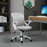 Vinsetto Mesh Home Office Chair Swivel Desk Task PC Chair w/ Lumbar Support, Arm, Grey