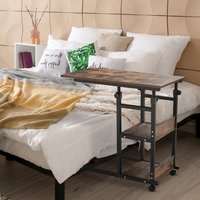 HOMCOM C-Shaped Mobile Sofa Bed Side Table Adjust Height 3-Tier Cart w/ Casters, Brake