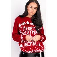 IKRUSHIKRUSH Womens Pixie Oversized Slogan Animal Christmas Jumper