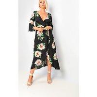 IKRUSHIKRUSH Womens Tayna Floral Flute Sleeve Wrap Front Maxi Dress