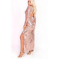 IKRUSHIKRUSH Womens Olivia Sequin Plunge Evening Maxi Dress