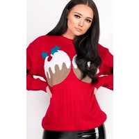 IKRUSHIKRUSH Womens Rudi Oversized Slogan Pudding Christmas Jumper