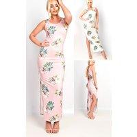 IKRUSHIKRUSH Womens Sierra Bodycon Floral Zip Side Maxi Dress