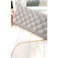 IKRUSH Womens Laylia Quilted Gold Studded Clutch Bag, Grey