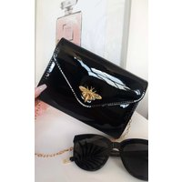 IKRUSH Womens Lara Bee Embellished Envelope Clutch Bag