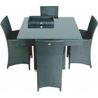 Tuinmeubel tuinset dining set lisboa, wicker weerbestendig vlechtwerk incl. 4 stoelen, 1 tafel en ...