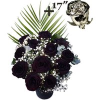 A single 17Inch Platinum Dipped Rose surrounded by 11 Black Roses