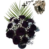 A single 17Inch Silver Dipped Rose surrounded by 11 Black Roses