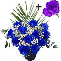 A single Purple Rose surrounded by 11 Blue Roses