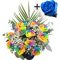 A single Blue Rose surrounded by 11 Happy Roses