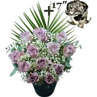 A single 17Inch Platinum Dipped Rose surrounded by 11 Lilac Roses