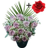 A single Red Silk Rose surrounded by 11 Lilac Roses