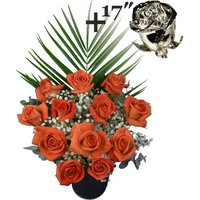 A single 17Inch Platinum Dipped Rose surrounded by 11 Orange Roses