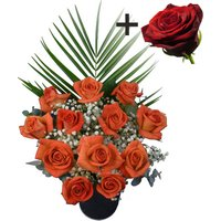 A single Large Headed Red Naomi Rose surrounded by 11 Orange Roses