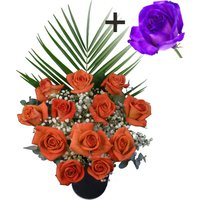 A single Purple Rose surrounded by 11 Orange Roses