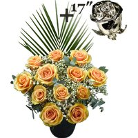 A single 17Inch Platinum Dipped Rose surrounded by 11 Peach Roses