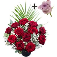 A single Lilac Rose surrounded by 11 Deep Red Naomi Roses
