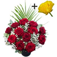 A single Yellow Rose surrounded by 11 Deep Red Naomi Roses