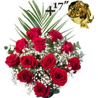 A single 17Inch Gold Dipped Rose surrounded by 11 Bright Red Freedom Roses