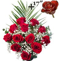 A single 17Inch Gold Trimmed Red Rose surrounded by 11 Bright Red Freedom Roses