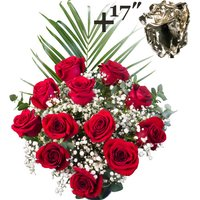 A single 17Inch Silver Dipped Rose surrounded by 11 Bright Red Freedom Roses