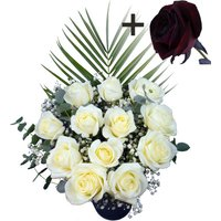 A single Black Rose surrounded by 11 White Roses