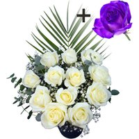 A single Purple Rose surrounded by 11 White Roses