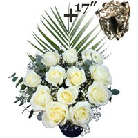 A single 17Inch Silver Dipped Rose surrounded by 11 White Roses