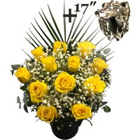 A single 17Inch Silver Dipped Rose surrounded by 11 Yellow Roses