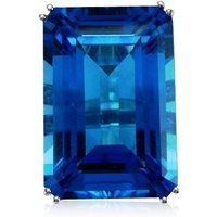 Fire and Ice Emerald-cut Blue Topaz Ring - UK Q - US 8.25 -