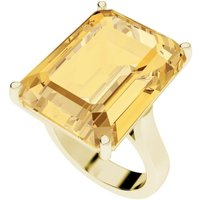 Citrine Emerald Cut 9kt Yellow Gold Cocktail Ring - UK S -