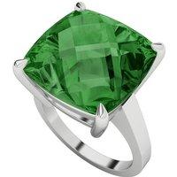 Hydrothermal Emerald Cushion Cut Checkerboard Silver Ring -