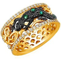 Gold, Emerald and Diamond Earth Element Lizard Ring |