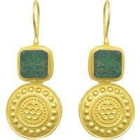 Raw Emerald Medallion Earrings